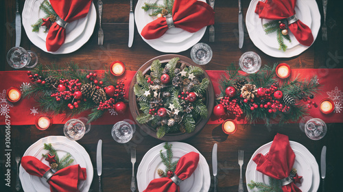 Fotografering Christmas holidays table setting concept