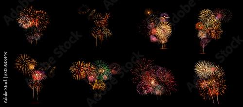 Fotografiet Multiple fireworks Collection set (high resolution)