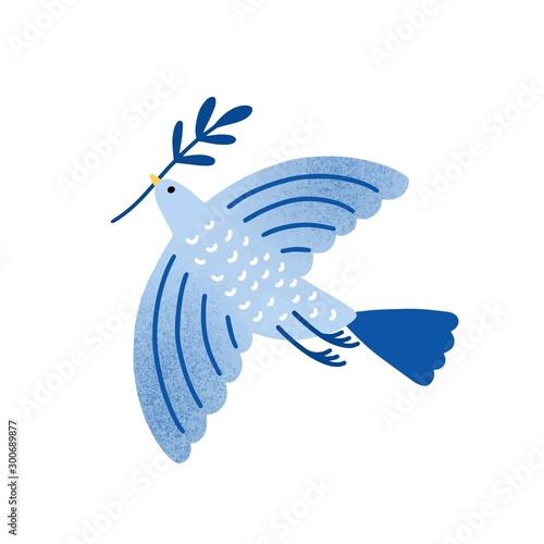 Fotomural Dove with olive branch vector illustration