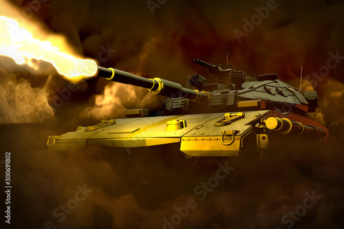 Canvas Print forest camo heavy tank with not real design fighting fire with fire all around,