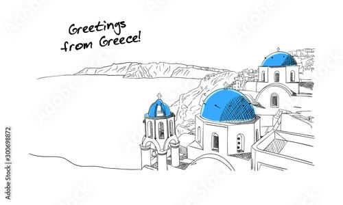 Fotografia Santorini Greece hand drawn sketch