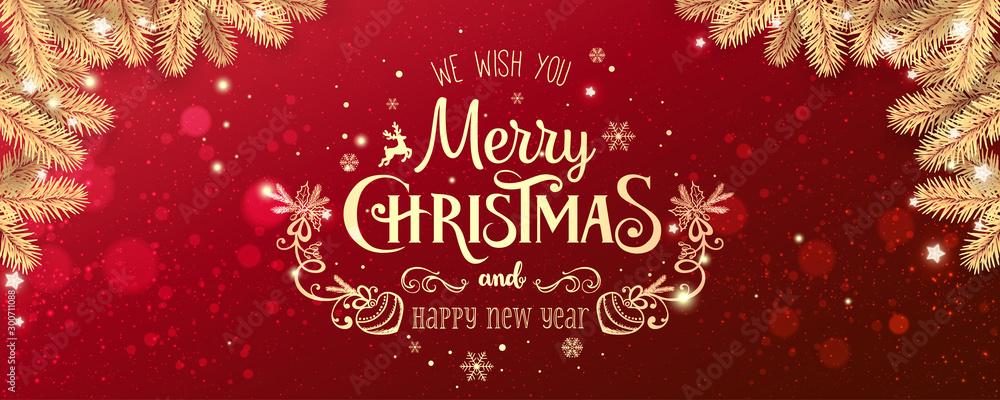 Złote Boże Narodzenie i nowy rok typograficzne na czerwonym tle Xmas z zimowego krajobrazu z płatki śniegu, światło, gwiazdy. Wesołych Świąt. Ilustracja wektorowa <span>plik: #300711088 | autor: Jukov studio</span>