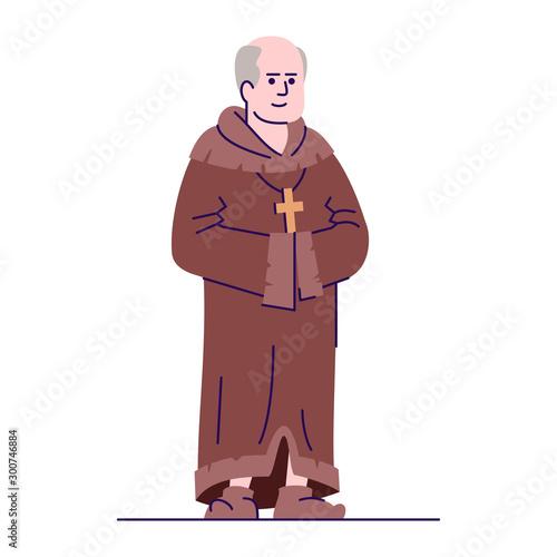Valokuva Medieval priest flat vector illustration