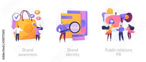 Fotografia Commercial advertising service, company recognition, public relations management icons set
