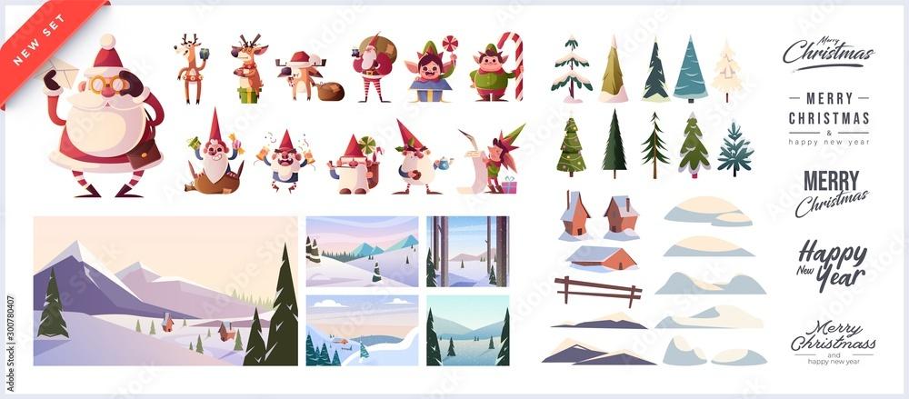 Zestaw świąteczny do tworzenia pocztówek lub plakatów. Obejmowały domy pokryte śniegiem, Mikołajki, bałwany, choinki, różne zaspy śniegu, napisy do nagłówków i tła <span>plik: #300780407   autor: stonepic</span>