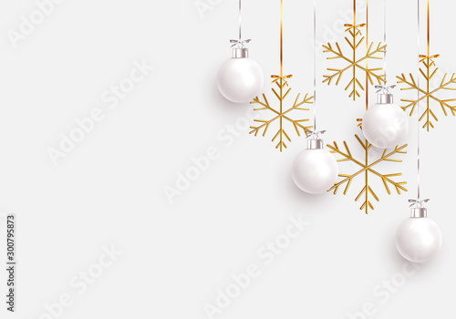 Wall mural Christmas balls background. Hanging white Xmas decorative bauble, 3d golden metallic snowflakes on the ribbon. Festive vector realistic decor ornaments