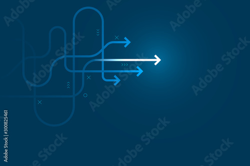 Fototapeta Abstract arrow direction illustration, copy space composition, business leader path concept