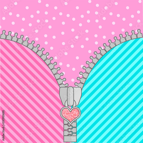 Canvas Print Cute lol doll surprise background with open zipper