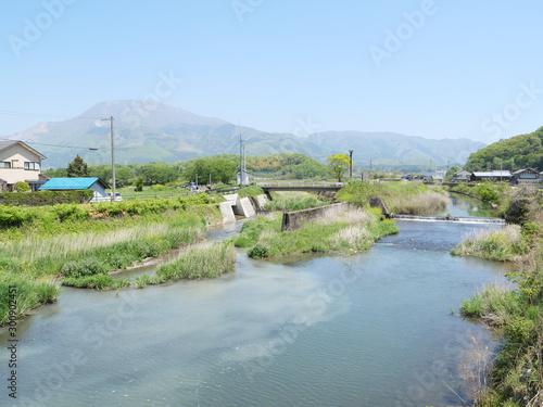 Obraz na plátně Japan's Shiga River and Mt. Ibuki