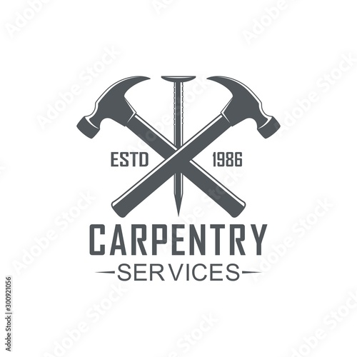 Canvas Print Black and white illustration logo of a workshop of carpentry