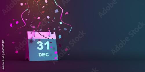 Billede på lærred Happy New Year eve design creative concept, December 31 calendar and glittering confetti on blue pink gradient background