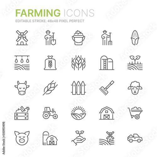 Obraz na płótnie Collection of farming related line icons
