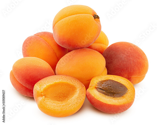 apricot isolated on white background, clipping path, full depth of field Fototapete