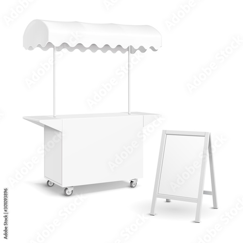 Obraz na płótnie White POS POI Blank Empty Retail Stand Stall Mobile Bar Display With Roof, Canopy, Banner
