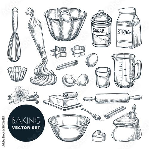 Baking ingredients and kitchen utensil icons Fototapeta