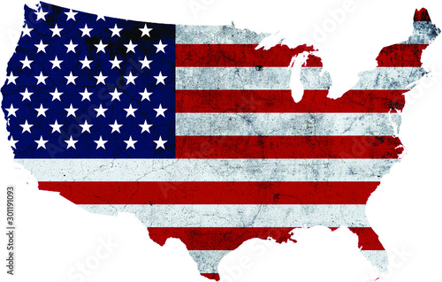 America shaped American Flag with Texture