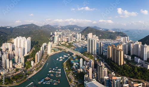 Fotografie, Obraz Aerial view of Aberdeen residential district and the Ap Lei Chau island in Hong