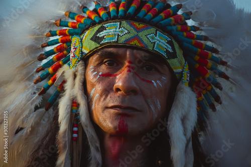 Obraz na plátně native Americans.portrait of Americans Indian man.
