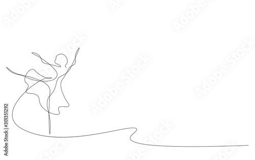 Ballet dancer continuous line draw, vector illustration Fototapeta