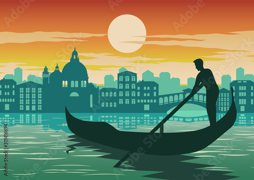 Fotografia man row boat in Venice, famous landmark of Italy, on sunset time,vintage and cla