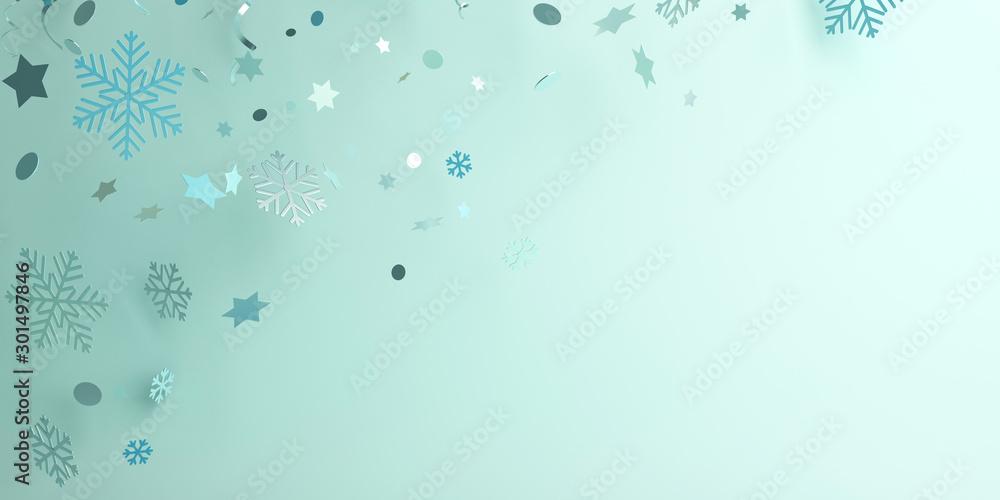 Winter abstract design creative concept, snow icon confetti glitter scattering on blue pastel background. 3D rendering illustration. <span>plik: #301497846 | autor: sofirinaja</span>