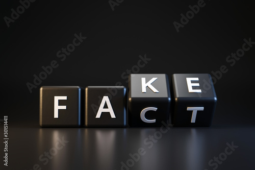 Black dice and fact or fake with April fools day concept on dark background Fototapet