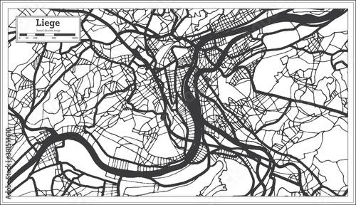 Obraz na plátně Liege Belgium City Map in Black and White Color. Outline Map.