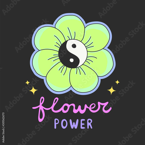 Fototapeta Colorful Flower Power lettering with 60s hippie style ying-yang daisy flower