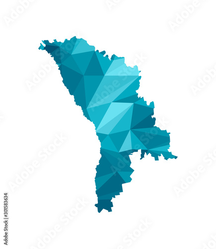 Canvas Print Vector isolated illustration icon with simplified blue silhouette of Moldova map