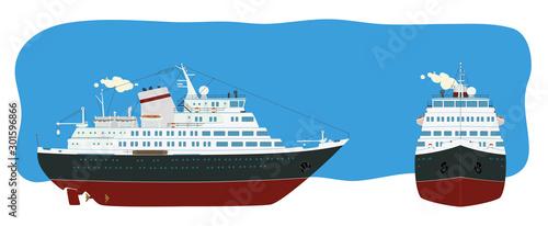 Obraz na płótnie Passenger liner in two perspective