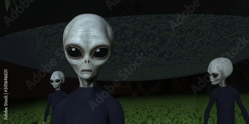 Alien Ufo in Forest with three Grey Aliens extremely detailed and realistic high Fototapete