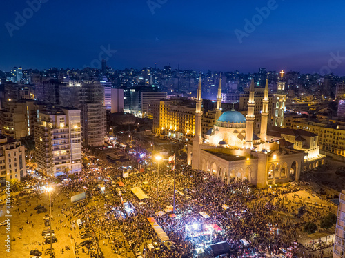 Photo Aerial Night shot of Beirut Downtown, Lebanon during protest against Government,