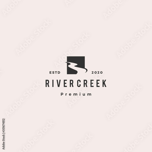 Cuadros en Lienzo river creek logo hipster retro vintage vector icon illustration