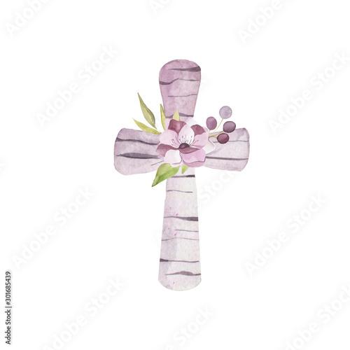Fototapeta Watercolor wooden cross