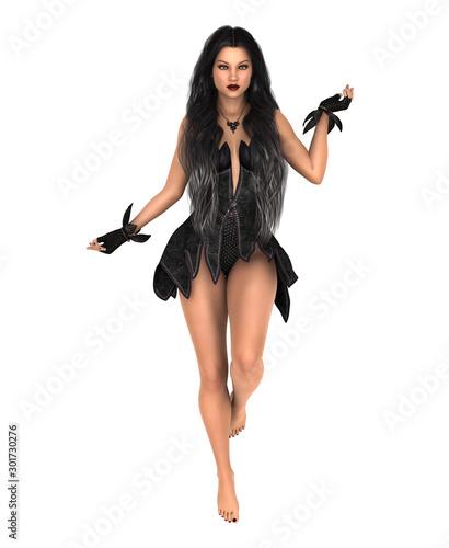 Fotografia Sorceress in black dress. Isolated on white. 3D rendering.