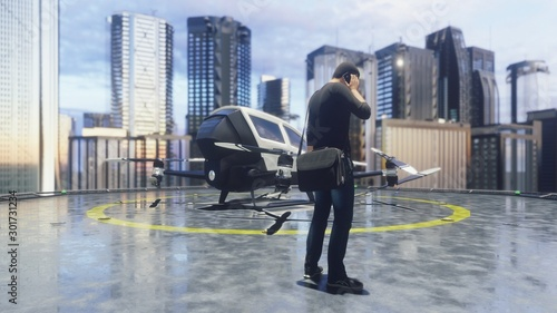 Canvas Print A unmanned passenger drone is preparing for takeoff. 3D Rendering