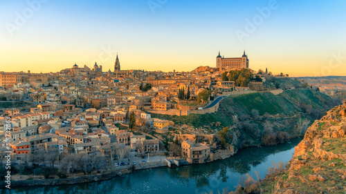 Breathtaking panoramic view of beautiful sunset over the old town of Toledo. Travel destination Spain
