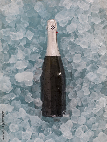 Christmas Champagne Bottle with cold ice cubes