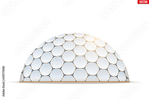 Leinwand Poster Geodesic dome of hexagon honeycombs form