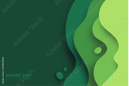 Green abstract paper carve background.Paper art style of nature concept design.Vector illustration. eps 10