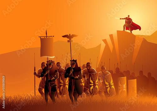 Fotografia Rome legionaries march in the grass field