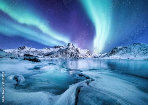 Fotografia Aurora Borealis, Lofoten islands, Norway