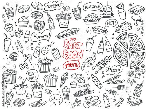 Set of fast food doodles on white. Vector illustration. Perfect for menu or food package design.