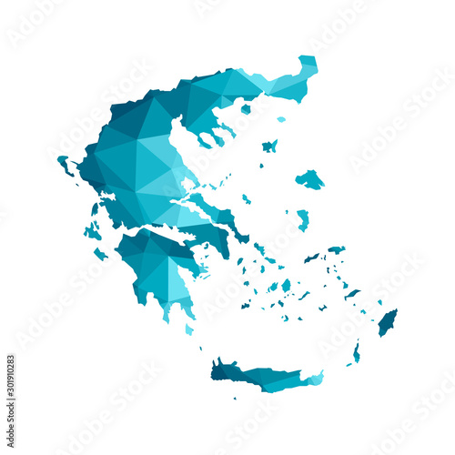 Canvas Print Vector isolated illustration icon with simplified blue silhouette of Greece map