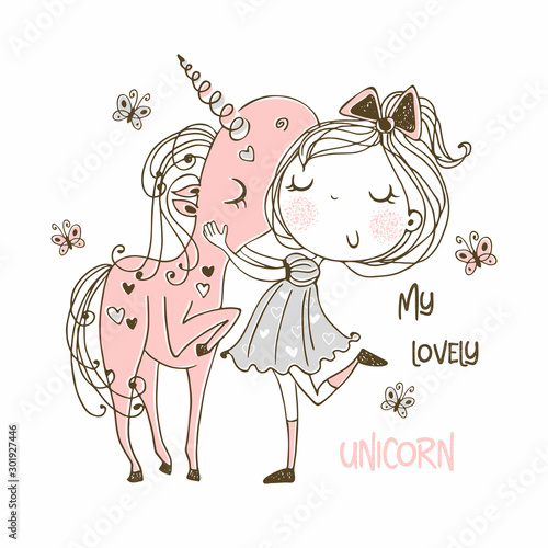 Sweet girl with a magical unicorn. Vector.