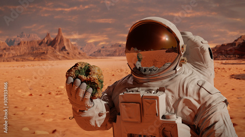Fotografia life on planet Mars, astronaut discovers bacterial life on the surface of a rock