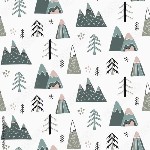 Vector Christmas seamless pattern in scandinavian style.