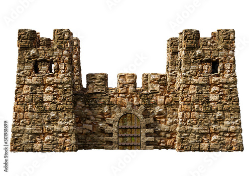 Photo Realistic medieval fortress castle with towers for surveillance isolated over wh