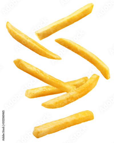 Photo Falling french fries, potato fry isolated on white background, clipping path, fu