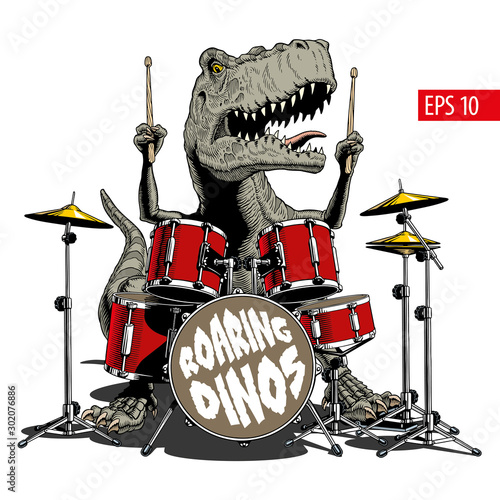 Canvas Print Dinosaur playing drums